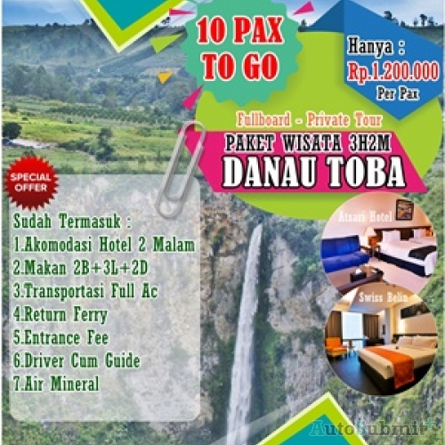 3D2N Tour Danau Toba 10 Pax